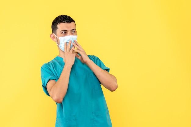 側面図医師マスクの医師はコロナウイルス感染の症状に驚いています