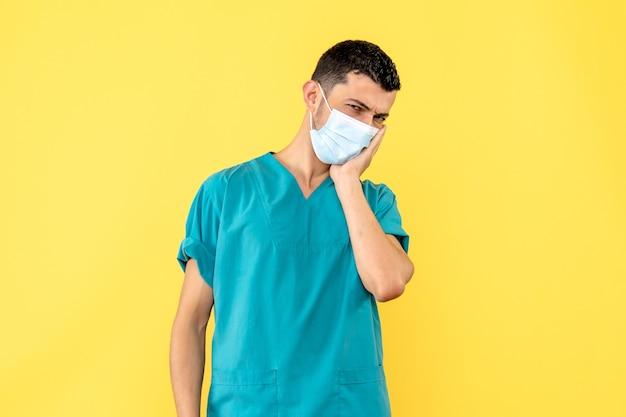 Вид сбоку врач врач думает о преимуществах, недостатках вакцины против вируса