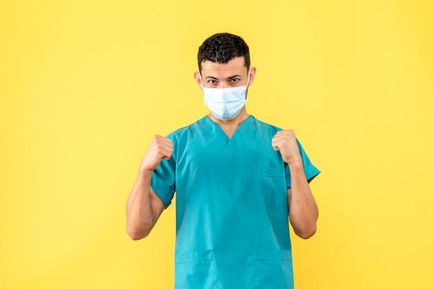 医師の側面図医師は、パンデミック時にコロナウイルスの患者が何をすべきかを知っています