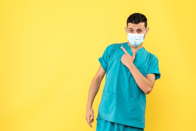医師の側面図医師はコロナウイルスの患者が何をすべきかを知っています