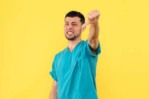 Вид сбоку врач врач говорит, что новая вакцина неэффективна