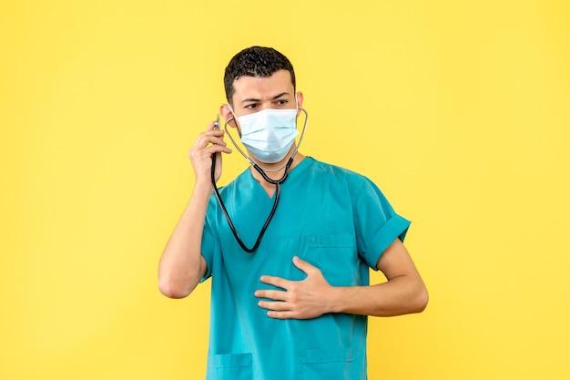 医師がコロナウイルスの治療について知っているマスクをした医師の側面図