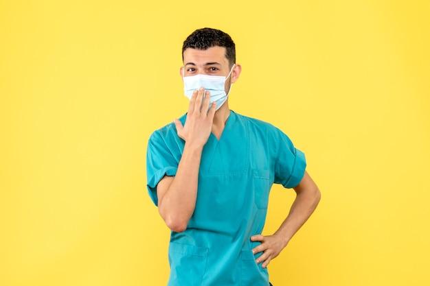 マスクをした医師の側面図医師はマスクを着用することが重要であることを知っています
