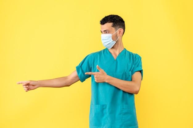 マスクをした医師の側面図医師は気分が悪い場合の対処法を説明します