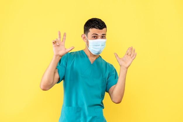 マスクをした医師の側面図医師はコロナウイルスの患者を助けます