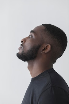 Side view american black person