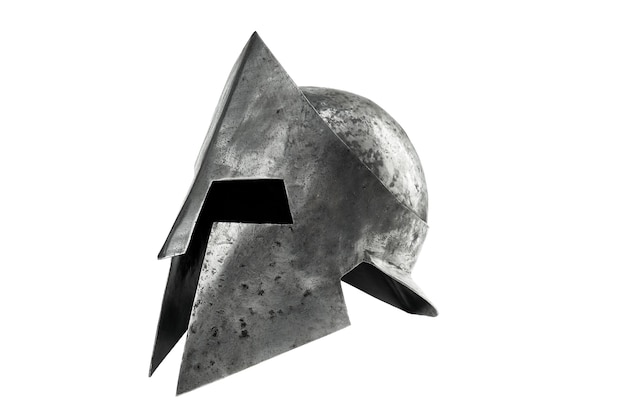 Side view of ancient metal tough spartan helmet isolated