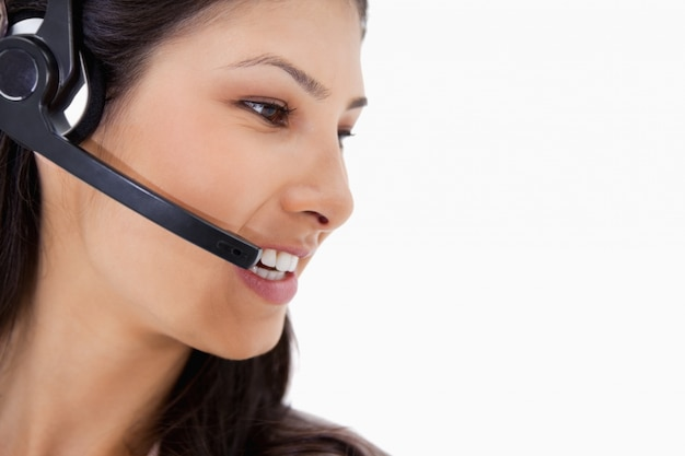 Side view of angry call center agent
