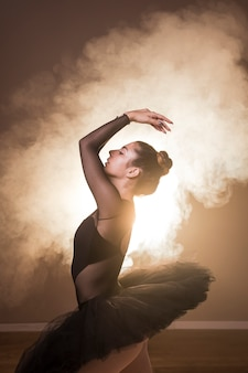 Side view ballet posture in smoke