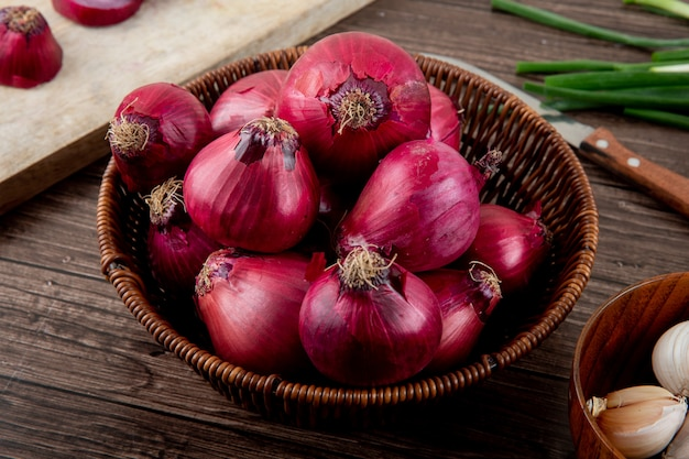Side view of basket full of red onions on wooden background