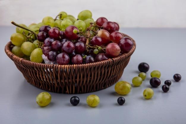 Vista laterale del cesto di uva e acini d'uva su superficie grigia e sfondo bianco