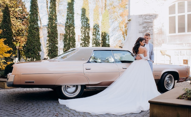 Side view of beautiful newlyweds stand on the background of a pink car on a sunny day