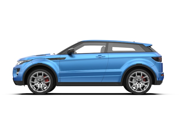 Side view of blue generic unbranded suv car isolated on white background