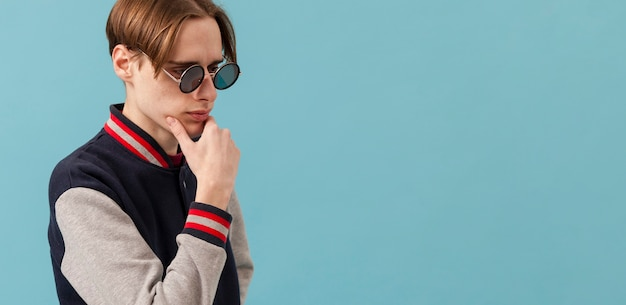 Side view boywith sunglasses