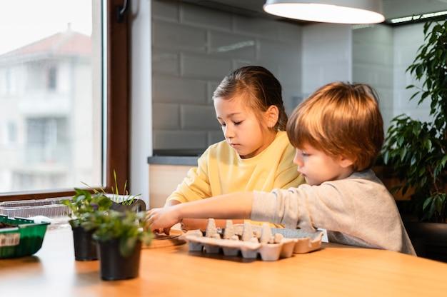 Vista laterale di bambini che piantano semi a casa