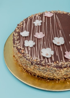 Side view of chocolate cake with nuts on blue surface