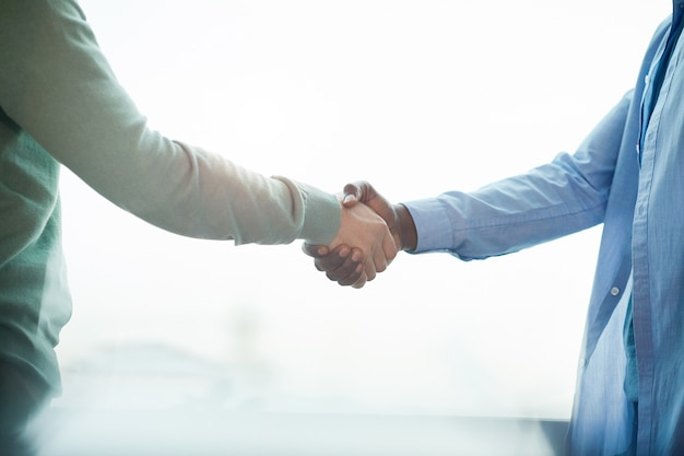 Side view close up of african businessman shaking hands with partner while standing against window, copy space