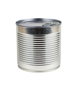 Side view of a closed tin can isolated on a white background. universal container for canning.