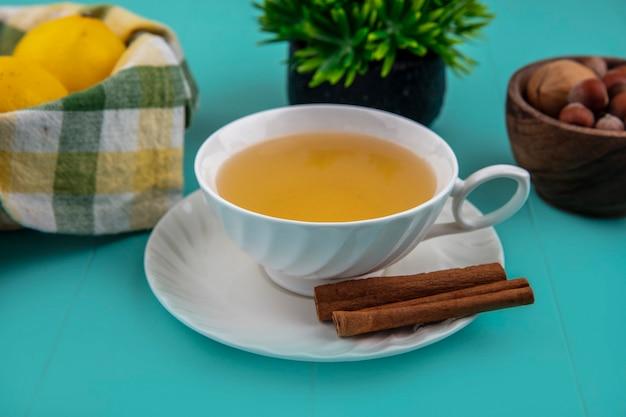 Vista laterale della tazza di toddy caldo con cannella sul piattino e limoni con noci su sfondo blu