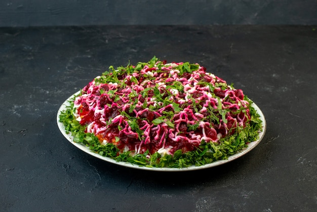 Side view of delicious salad decorated with green in a white plate on black background with free space