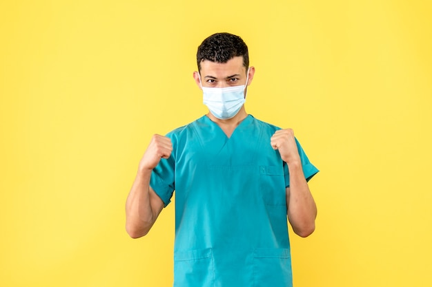 Side view a doctor a doctor knows what the patients with coronavirus should do during a pandemic