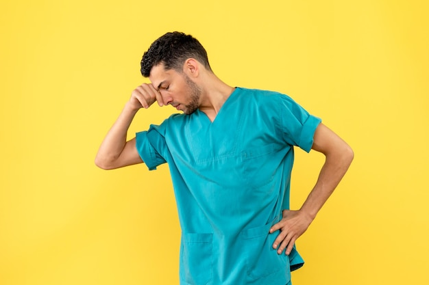 Side view of a doctor is thinking