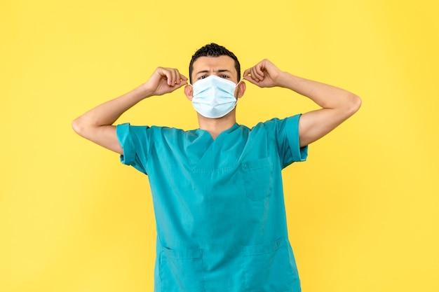 Vista laterale un medico in maschera un medico incoraggia le persone a indossare maschere