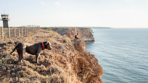 コピースペースのある海岸で飼い主の隣を散歩している側面図の犬