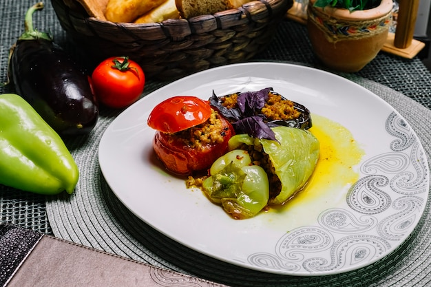 Side view dolma stuffed tomato bell pepper and eggplant with minced meat and basil