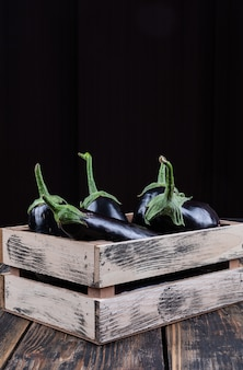 Side view eggplants in wooden box on wooden and black background. vertical space for text