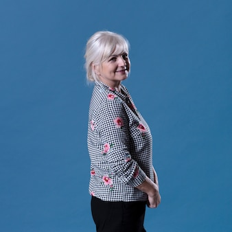Side view of elderly woman