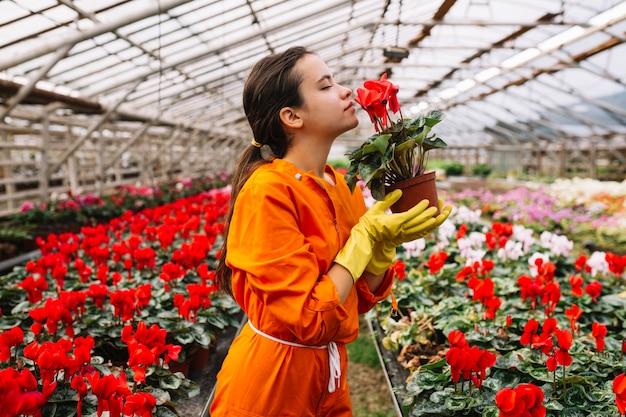 Side view of a female gardener smelling red flower