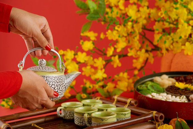 Side view of female hands with red nail polish serving table for tet