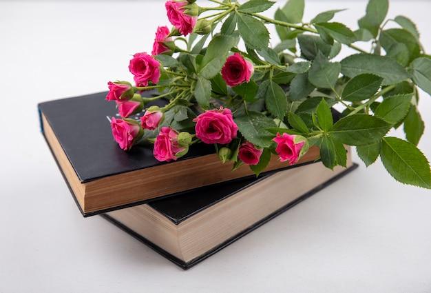 Vista laterale di fiori su libri chiusi su sfondo bianco