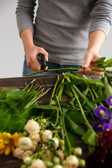 Vista laterale dei fiori, gambo di taglio fiorista.