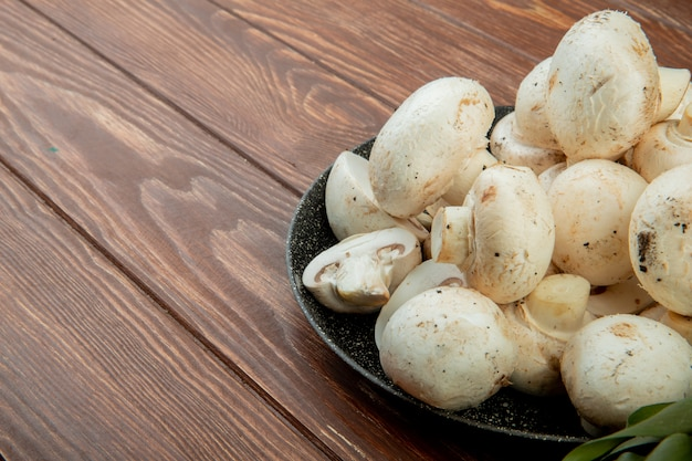 Side view of fresh white mushrooms isolated on rustic wood with copy space