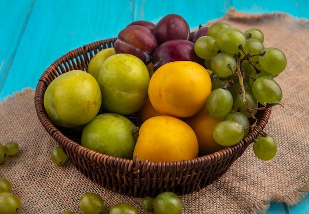 Vista laterale della frutta come uva pluots nectacots nel cesto e bacche di uva sul panno plaid su sfondo blu