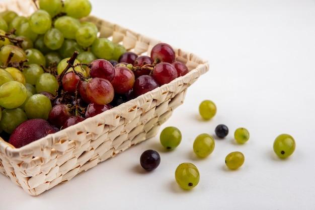 Vista laterale di frutti come pluot e uva nel cesto e acini d'uva su sfondo bianco