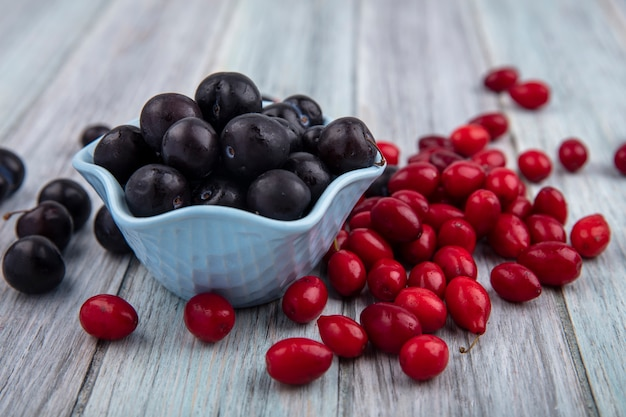 Side view of fruits as sloe berries in bowl and cornel berries on wooden background