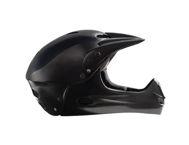 Side view of full face black helmet for downhill mountain bike, bmx and motocross riding. extreme sport equipment isolated