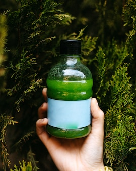 Side view of green smoothie detox drink in bottle on green