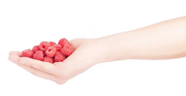 Side view of hand with tasty raspberries