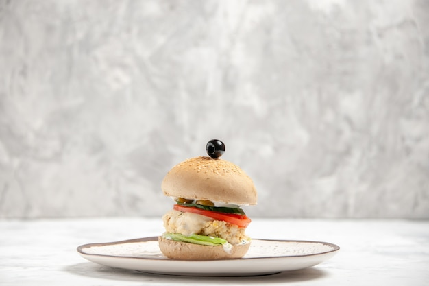 Vista laterale del delizioso panino fatto in casa su un piatto sulla superficie bianca macchiata