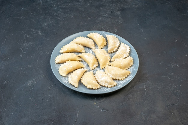 Side view of homemade raw dumplings on a plate on dark color wall with free space