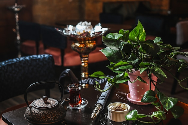 Side view iron teapot with a glass of tea and a potted plant on the table