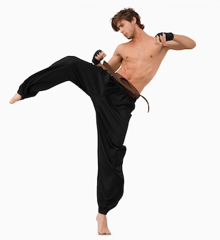 Side view of kicking martial arts fighter