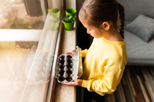 Side view of little child holding planted seeds in egg carton by the window