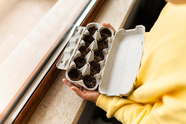 Side view of little child holding planted seeds in egg carton