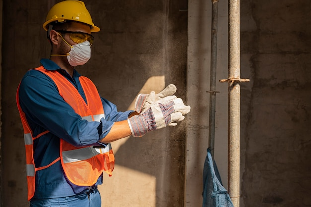 Side view man with safety equipment