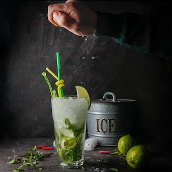 Side view mojito cocktail with mint, lime, ice, ice bucket